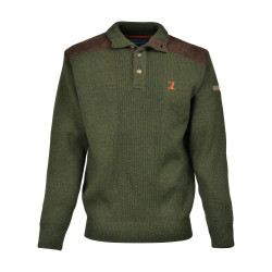 Pull Chasse Percussion Brode Col Cheminee