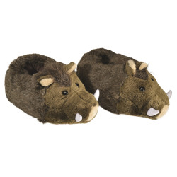 Chaussons peluche sanglier