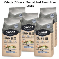 Palette Ownat Just Grain Free Adult Lamb 72 sacs 14 kgs