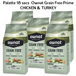 Palette Ownat Grain Free Prime Adult Chicken & Turkey 18 sacs 14 kgs