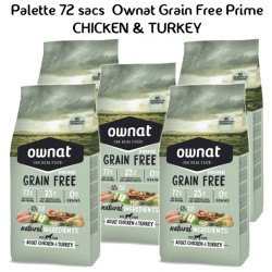 Palette Ownat Grain Free Prime Adult Chicken & Turkey 72 sacs 14 kgs
