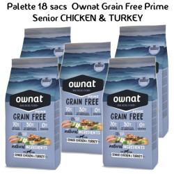 Palette Ownat Grain Free Prime Senior Chicken & Turkey 18 sacs 14 kgs