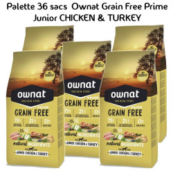 Palette Ownat Grain Free Prime Junior Chicken & Turkey 36 sacs 14 kgs