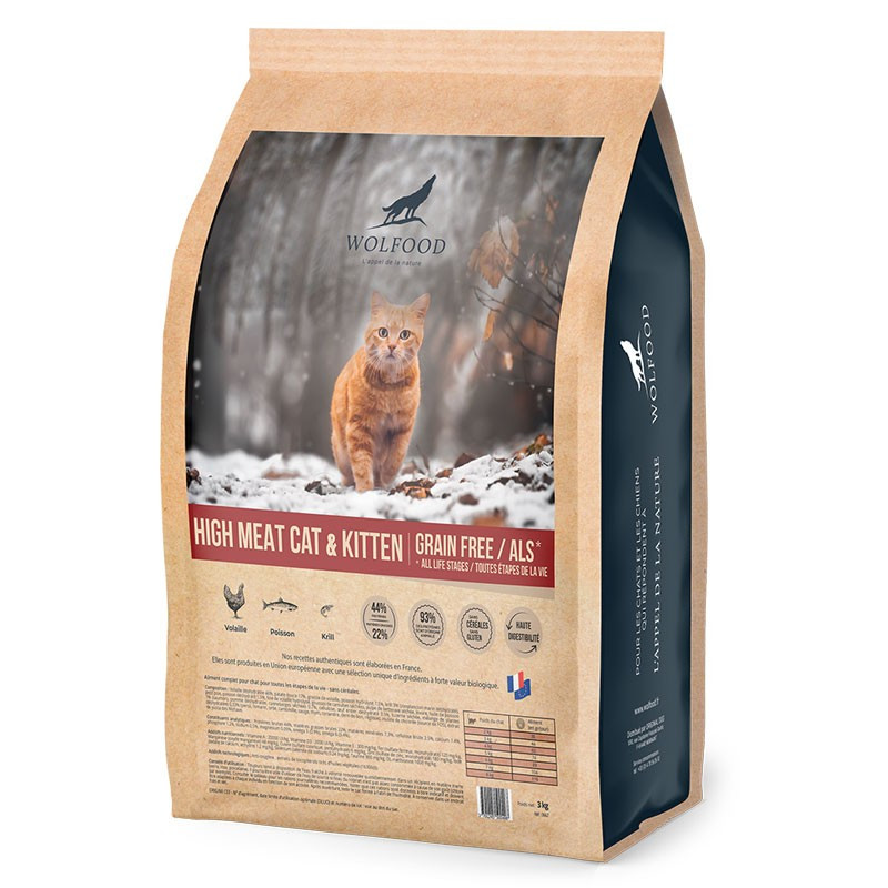 Croquettes High Meat Cat & Kitten Wolfood 3Kg