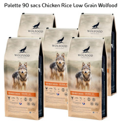 Palette 90 sacs Ckicken Rice Low Grain ALS 12kg Wolfood