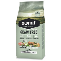 Croquettes pour chien Grain Free Prime Adult Chicken & Turkey Ownat 14 kg