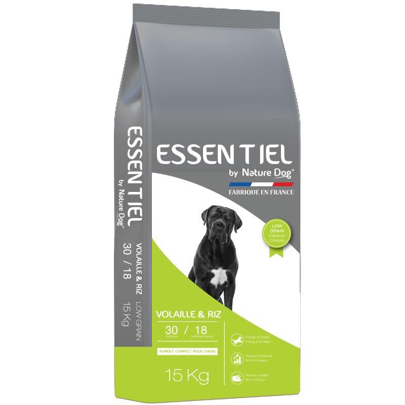 Croquettes Essentiel Low Grain Volaille et Riz 30/18 Nature Dog 15Kg