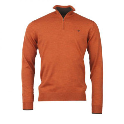 Pull Col Zippé Norfolk Orange Laksen